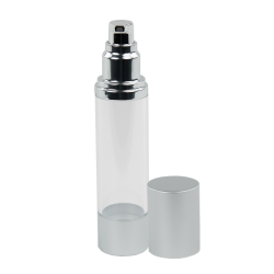 50mL Clear/Brushed Aluminum Airless Bottle with Pump