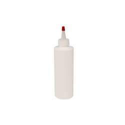 8 oz. White HDPE Cylindrical Sample Bottle with 24/410 Natural Yorker Cap
