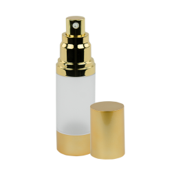 15mL Frosted/Brushed Gold Airless Bottle with Pump
