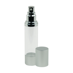 50mL Clear/Brushed Aluminum Airless Spray Bottle