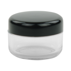 6mL PET Clear Round Jar with Black Lid