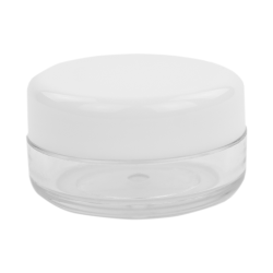 10mL PET Clear Round Jar with White Lid