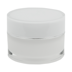 30mL Acrylic White/Silver Round Jar with Liner & Lid