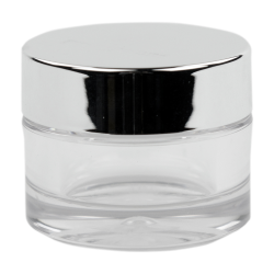 50mL Clear PETG Jar with Silver Cap & Liner