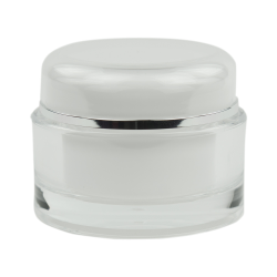 50mL Clear/Silver Acrylic Jar with Lined Cap