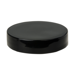 48/400 Black Polypropylene Smooth Unlined Cap