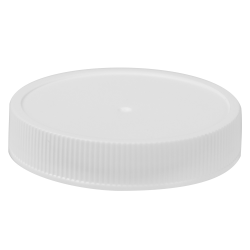 58/400 White Polypropylene Deep Recessed Unlined Ribbed Cap