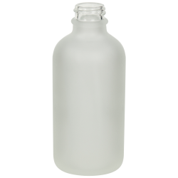 4 oz. Clear Frosted Glass Boston Round Bottle with 22/400 Neck (Cap Sold Separately)