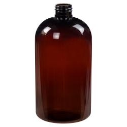 16 oz. Amber PET Squat Boston Round Bottle with 24/410 Neck (Caps Sold Separately)