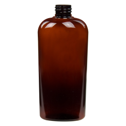 15.2 oz. Light Amber PET Vale High Clarity Oval Bottle with 28/410 Neck (Cap Sold Separately)