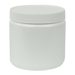 16 oz. White Straight Sided Jar with 89/400 Cap