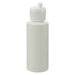 2 oz. White HDPE Cylindrical Sample Bottle with 20/410 Flip-Top Cap