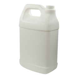 128 oz. White Fluorinated HDPE F-Style Jug with 38/400 Neck (Cap Sold Separately)