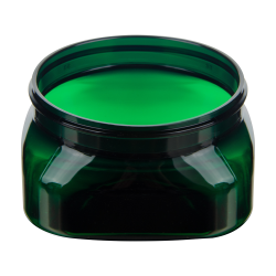 4 oz. Dark Green PET Firenze Square Jar with 70/400 Neck (Cap Sold Separately)