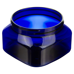 6 oz. Cobalt Blue PET Firenze Square Jar with 70/400 Neck (Cap Sold Separately)