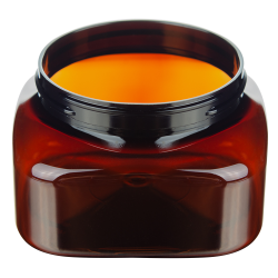 8 oz. Light Amber PET Firenze Square Jar with 70/400 Neck (Cap Sold Separately)