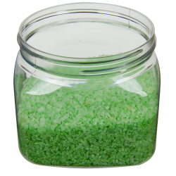 16 oz. Clear PET Firenze Square Jar with 89/400 Neck (Cap Sold Separately)