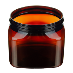 16 oz. Light Amber PET Firenze Square Jar with 89/400 Neck (Cap Sold Separately)
