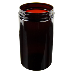 32 oz. Amber PET Straight Sided Jar with 89/400 Neck (Cap Sold Separately)