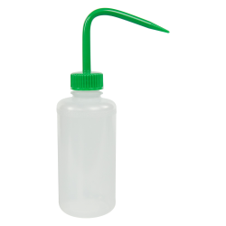 250mL Narrow Mouth Wash Bottle with 28mm Green Cap