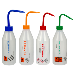 Labeled Sloping Shoulder Wash Bottles with Caps