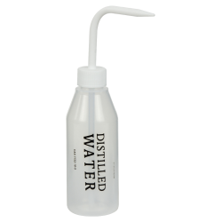 250mL Distilled Water Labeled Sloping Shoulder Wash Bottle with White Cap & Spout