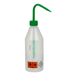 500mL Methanol Labeled Sloping Shoulder Wash Bottle with Green Cap & Spout