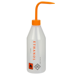 500mL Ethanol Labeled Sloping Shoulder Wash Bottle with Orange Cap & Spout