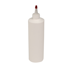 16 oz. White HDPE Cylindrical Sample Bottle with 24/410 White Yorker Cap