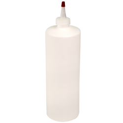 32 oz. White HDPE Cylindrical Sample Bottle with 28/410 White Yorker Cap