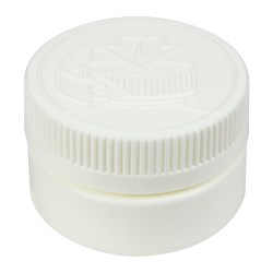 2 oz. White HDPE Low Profile Jar with White 53/400 CRC Cap