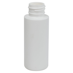 2 oz. White HDPE Cylindrical Sample Bottle with 24/410 Neck (Cap Sold Separately)