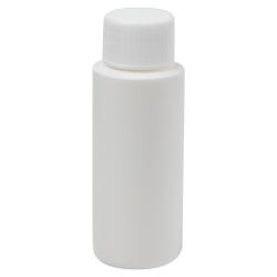 2 oz. White HDPE Cylindrical Sample Bottle with 24/410 Plain Cap