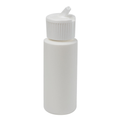 2 oz. White HDPE Cylindrical Sample Bottle with 24/410 Flip Top Cap