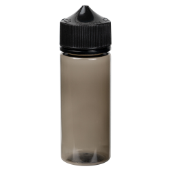 75mL Transparent Black PET Stubby Unicorn Bottle with Black CRC/TE Cap