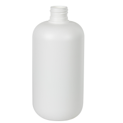 12 oz. HDPE White Boston Round Bottle with 24/410 Neck (Cap Sold Separately)