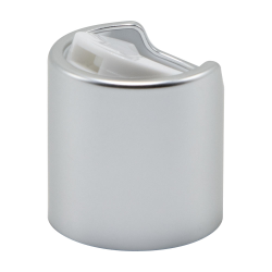 20/410 Brushed Silver & White Disc Dispensing Cap