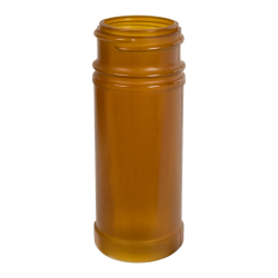4 oz. Amber Polypropylene Round Spice Jar with 43/485 Neck (Cap Sold Separately)
