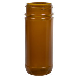 16 oz. Amber Polypropylene Round Spice Jar with 63/485 Neck (Cap Sold Separately)