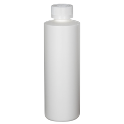 8 oz. White HDPE Cylindrical Sample Bottle with 24/400 CRC Cap