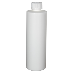 12 oz. White HDPE Cylindrical Sample Bottle with 24/400 CRC Cap