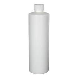 16 oz. White HDPE Cylindrical Sample Bottle with 24/400 CRC Cap