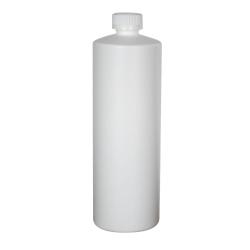 32 oz. White Cylindrical Sample Bottle with 28/400 CRC Cap