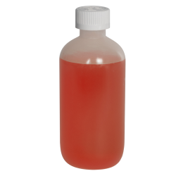 8 oz. LDPE Boston Round Bottle with 24/410 CRC Cap