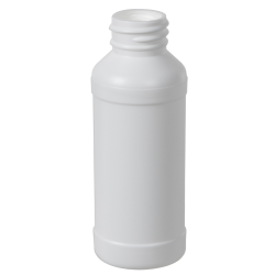4 oz. White HDPE Modern Round Bottle with 28/410 Neck (Cap Sold Separately)