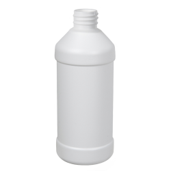 8 oz. White HDPE Modern Round Bottle with 28/410 Neck (Cap Sold Separately)