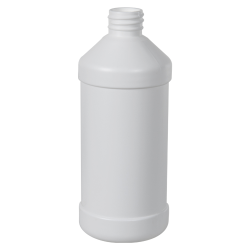 16 oz. White HDPE Modern Round Bottle with 28/410 Neck (Cap Sold Separately)