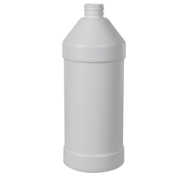32 oz. White HDPE Modern Round Bottle with 28/410 Neck (Cap Sold Separately)