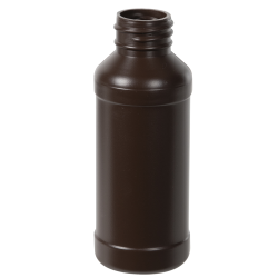 4 oz. Brown Modern Round Bottle with 28/410 Neck (Cap Sold Separately)