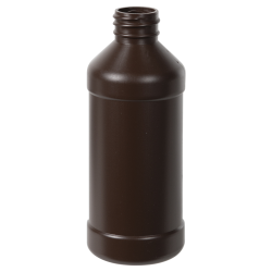 8 oz. Brown Modern Round Bottle with 28/410 Neck (Cap Sold Separately)